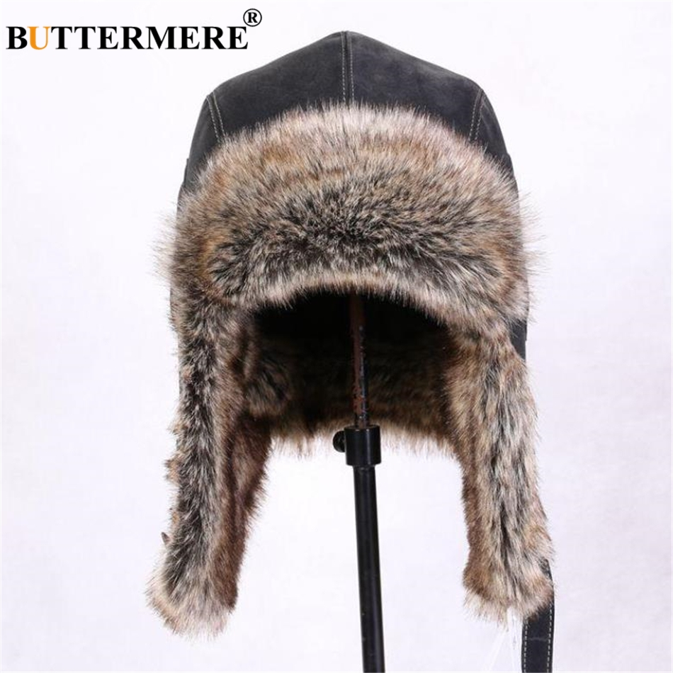 BUTTERMERE Winter Hats For Men Women Brown Ear Flaps Leather Russian Winter  Hat Ushanka Bomber Trapper Hat Male Fur Snow Caps-in Bomber Hats from  Apparel ... 022c87bbc40