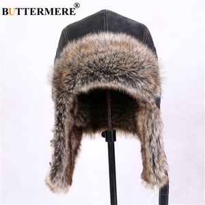 Image 2 - BUTTERMERE Winter Hats For Men Women Brown Ear Flaps Leather Russian Winter Hat Ushanka Bomber Trapper Hat Male Fur Snow Caps
