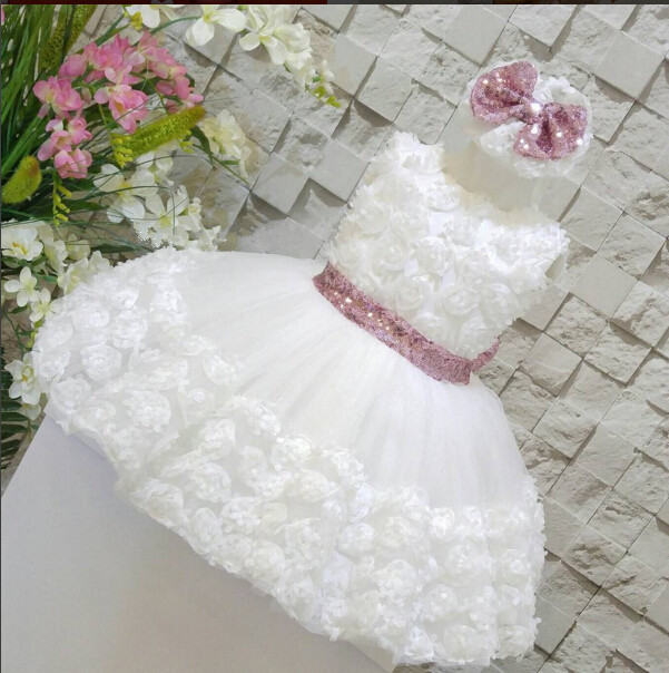 White/ivory sleeveless open back lace knee-length flower girl dress with sequin bow puffy ball gown tulle first communion gow