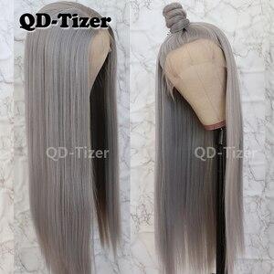 Image 3 - QD Tizer Silky Straight Haarkant Grijze Kleur Lijmloze Hittebestendige Synthetische Lace Front Pruik Voor Vrouwen