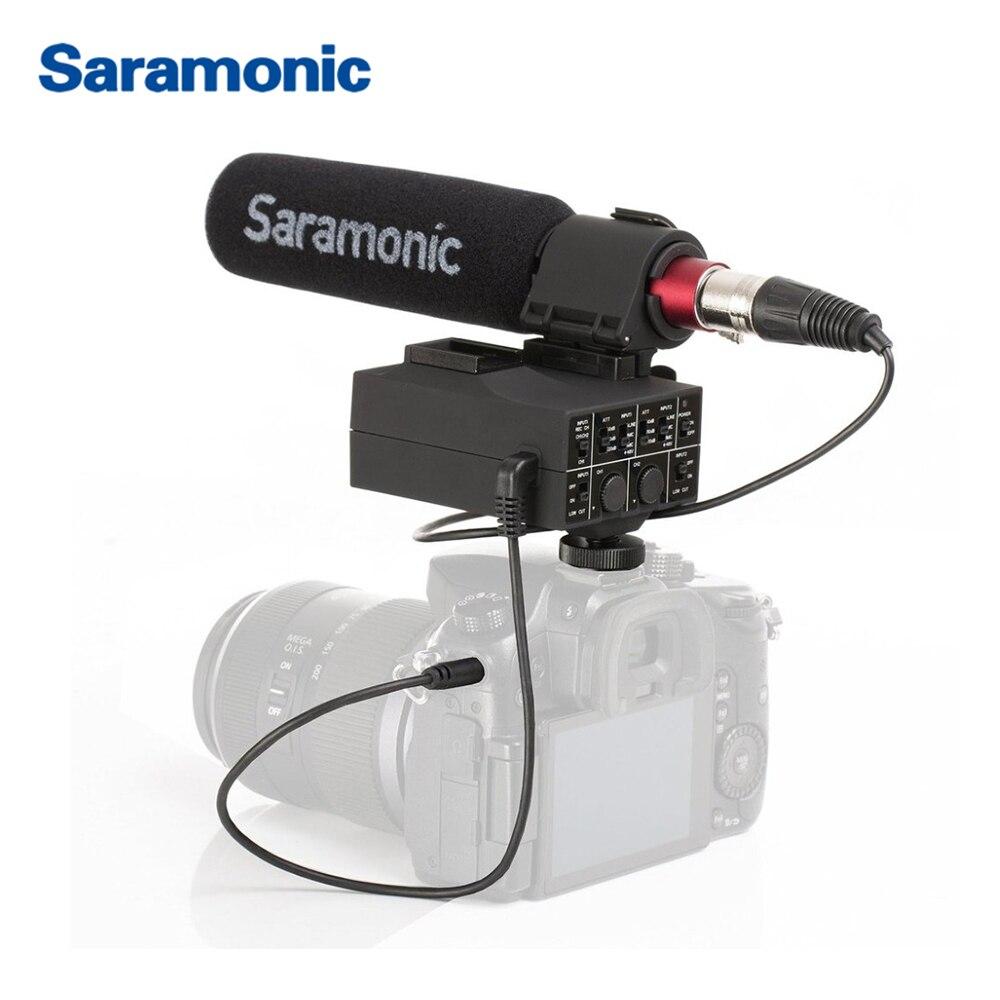 Saramonic MixMic Shot GUN Microfone VÍDEO com Integrado 2-Canal De Áudio XLR Adaptador para DSLR CANON NIKON Câmeras & filmadoras