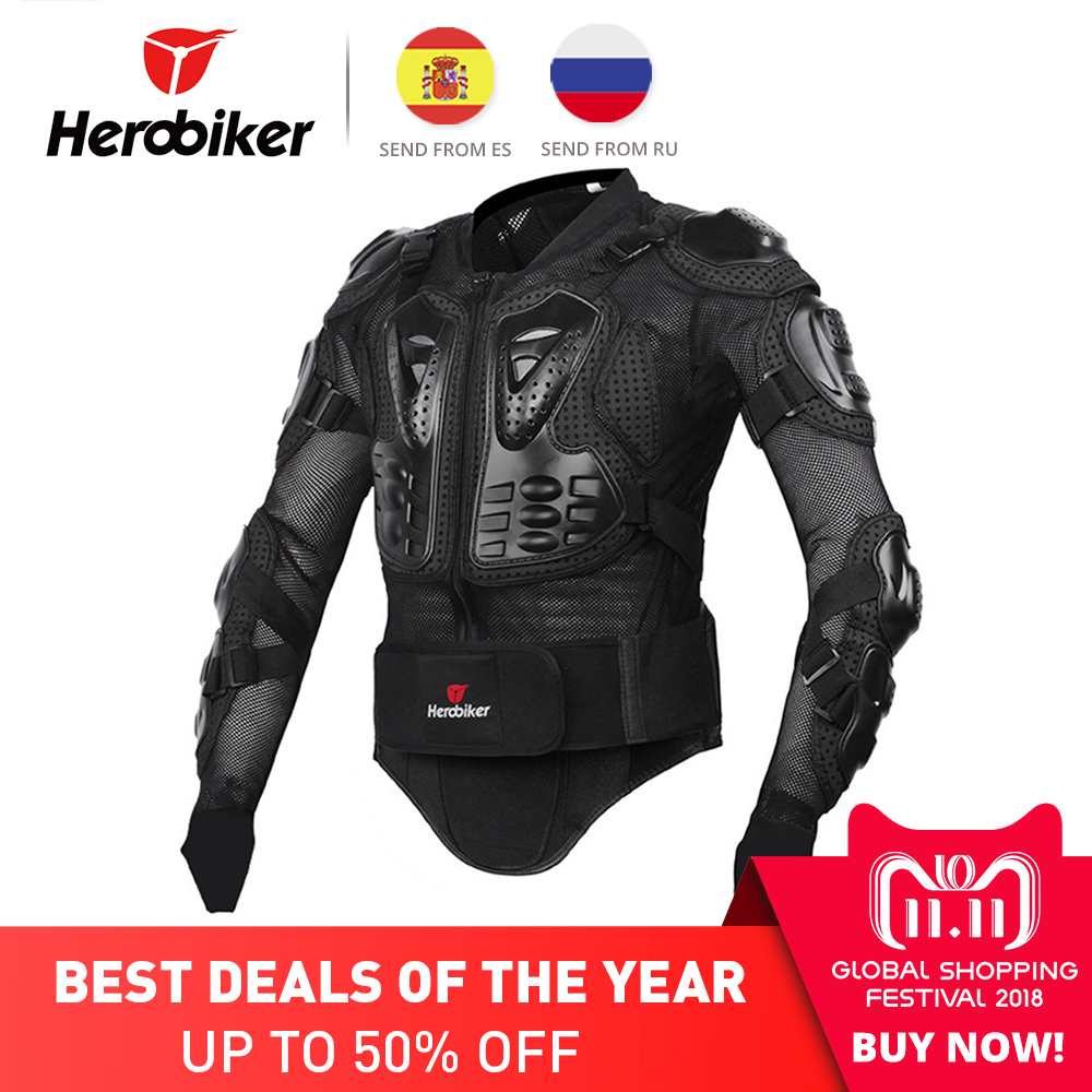 HEROBIKER Motorcycle Armor Protective Gear Motorcycle Jacket Body Armor Racing Moto Jacket Motocross Clothing Protector Guard недорго, оригинальная цена