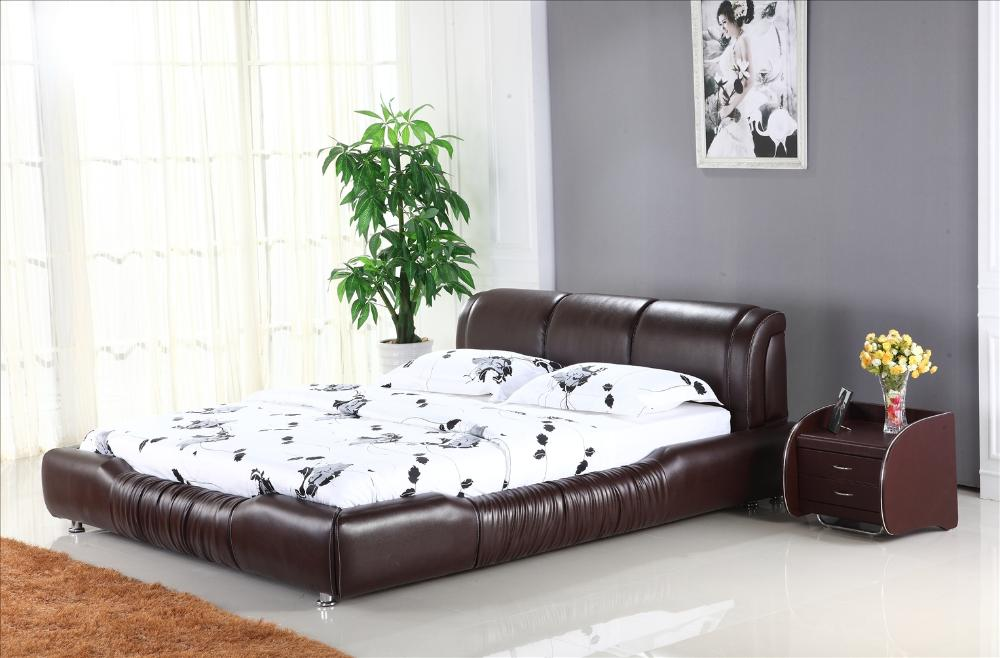 Soft Headrest Genuine Leather Bed, Brown Color Classic Design ...