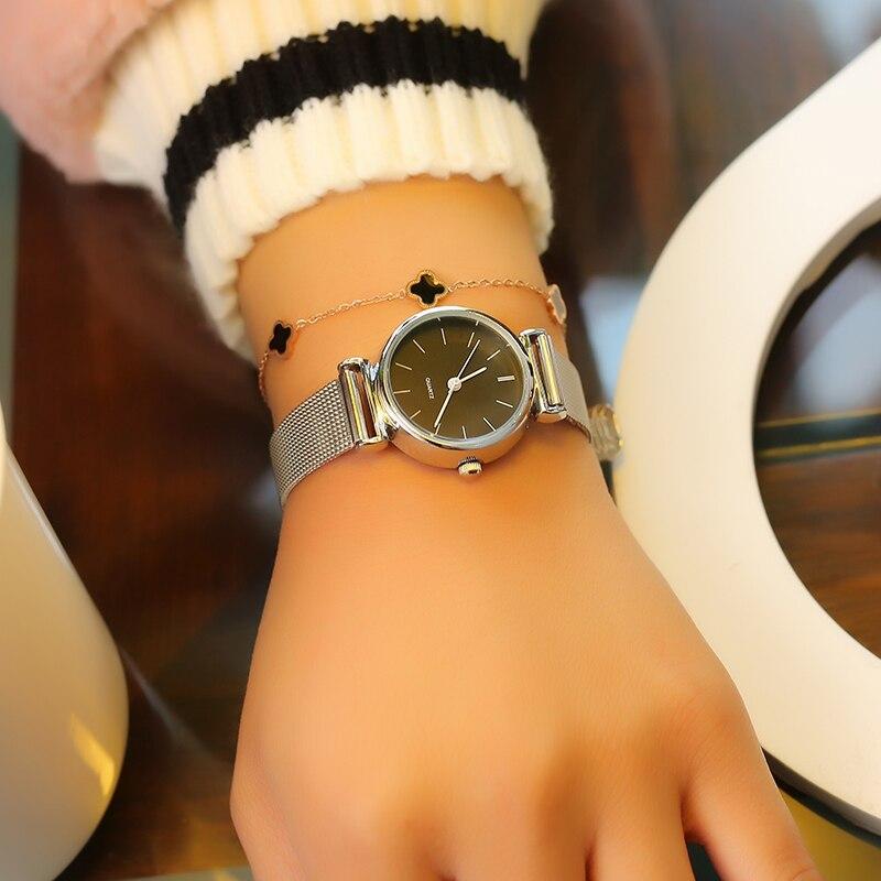 LEXAPE Brand New Fashion Watch Women Stainless Steel Mesh Classic Black&White Small Dial Casual Quartz Wristwatch Ladies Clock ysdx 398 fashion stainless steel self stirring mug black silver 2 x aaa