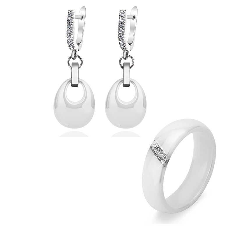 Klasik Hitam Putih Pink Jewelry Set Water Drop Earrings Dan Kristal Gaya Sederhana Cincin Keramik Aksesoris Bijoux Untuk Wanita Gadis