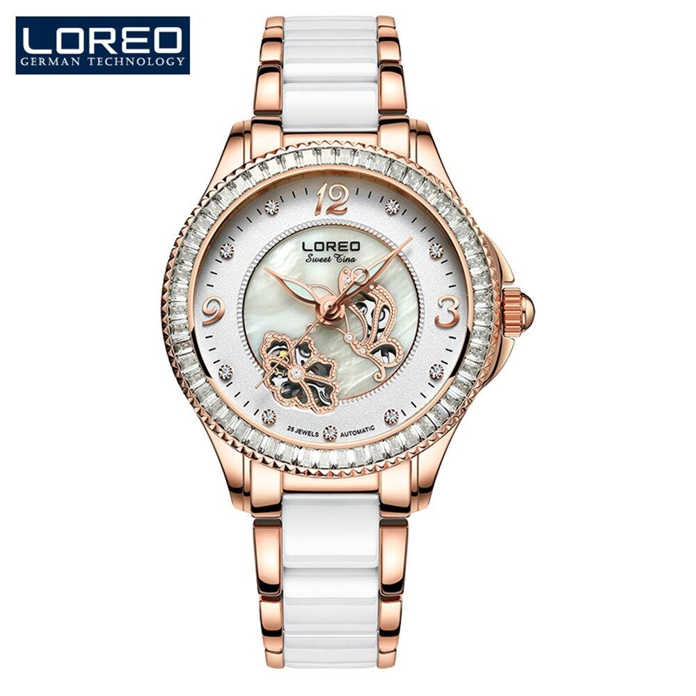 Relógio de Pulso de Luxo para as Mulheres Senhora em Ouro Rosa de Aço de Cerâmica Mulheres Relógios Loreo Relógio Feminino Senhoras Mecânicos Assistir Novo