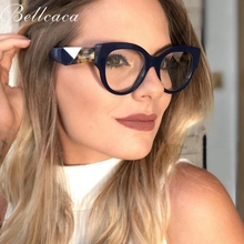 Bellcaca Optical Eyeglasses Women Fashion Prescription Spectacles Frames Leopard Transparent Clear Lens Eyewear BC811