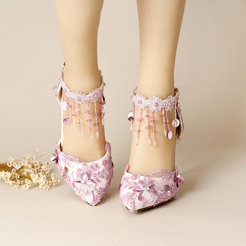 9cm High Heels Purple Wedding Shoes Women Pumps Crystal