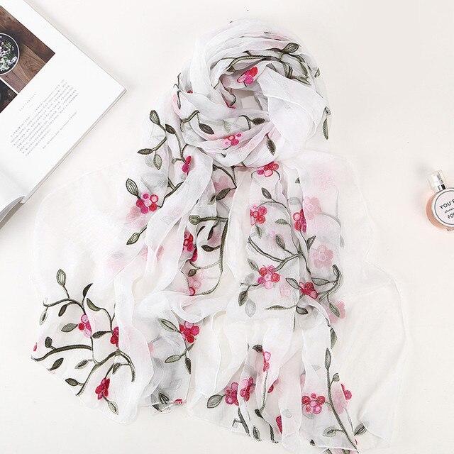 Winter Women Scarf Chiffon Flower Embroidery Shawl Scarf Hijab Wrap Headband Ladies Muslim Hijabs Scarf