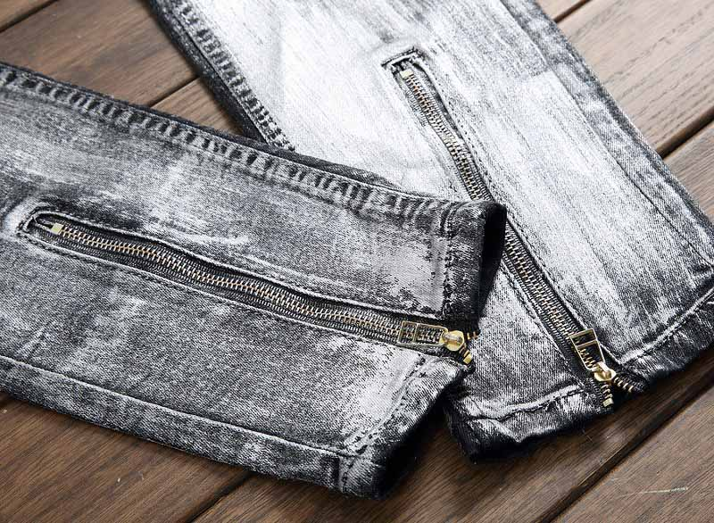 Mcikkny New Fashion Men`s Hip Hop Denim Jeans Ripped Pleated Pants For Male Ankle Zipper (7)