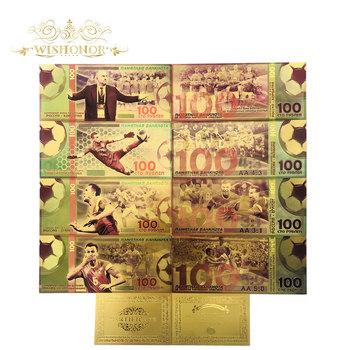 10 sztuk partia ładne rosja banknotów puchar świata zestaw banknotów 100 rubel złoty banknot w 24 K pozłacane pieniądze na kolekcja tanie i dobre opinie Antique sztuczna Patriotyzmu FGHGF 7days after you paid Russia Souvenir collection Gold