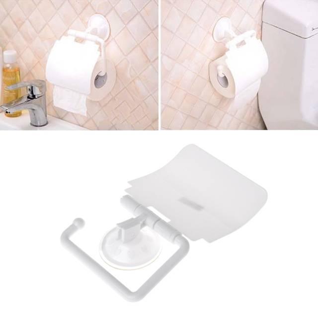 Porte-rouleau papier de toilette de salle de bains de ventouse en plastique  fixée au mur avec la couverture