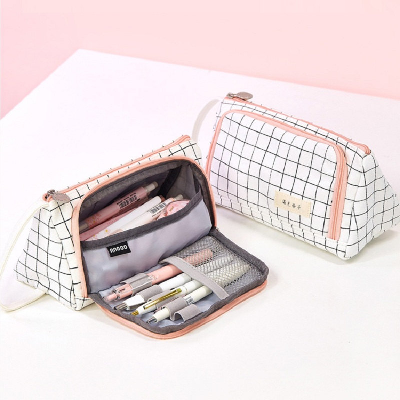 Pencil Case Stationery Bag Pen Holder School Supplies Office College Student Girl BagChristmas Gift White Plaid Stationery Pouch
