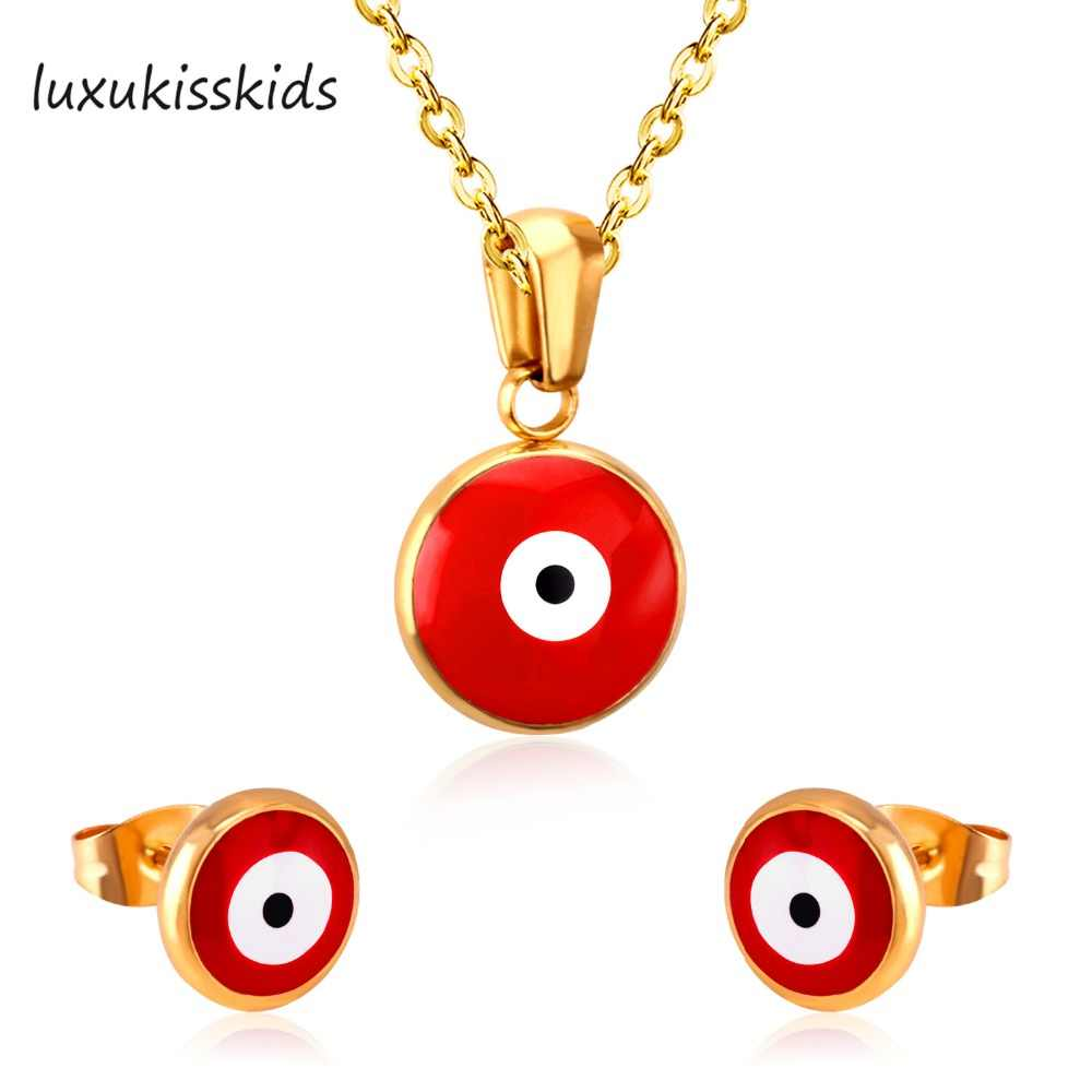 LUXUKISSKIDS Brand New Red Color Opals Jewelry Set Stainless Steel Sets Women Gift