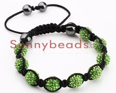 Free Shipping 10pcs/Lot Fashion Handmade Green Crystal Rope Spread Adjustable Shamballa Bracelet S008