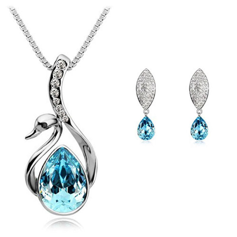 Spring 2014 Wholesale Crystal Fashion Classic Jewerly Sets Swan Pendants Necklace Leaves Stud Earring Silver Plated For Women