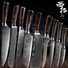 XITUO шеф-повара хлеб Потрошитель нарезанные фрукты Китайский Японский кухонный нож острый утилита santoku полный дамасский узор приготовления пищи