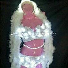 Модные, пикантные Для женщин Led белый Цвет световой бюстгальтер шорты костюм для танцев со светодиодной подсветкой DJ DS ТВ-шоу Этап Бальные Одежда