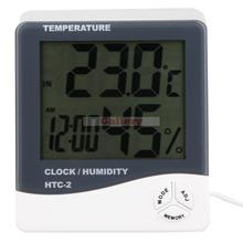 Wholesale prices Htc-2 Digital Indoor Outdoor Thermo Hygrometer Thermometer Temperature Humidity Meter Tester with Time Clock Meter