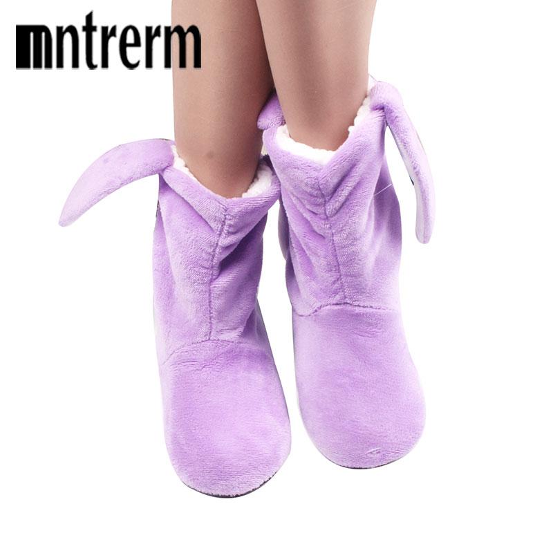 MENG SHENG Winter Cotton Cartoon Thick Baby Cute Slippers