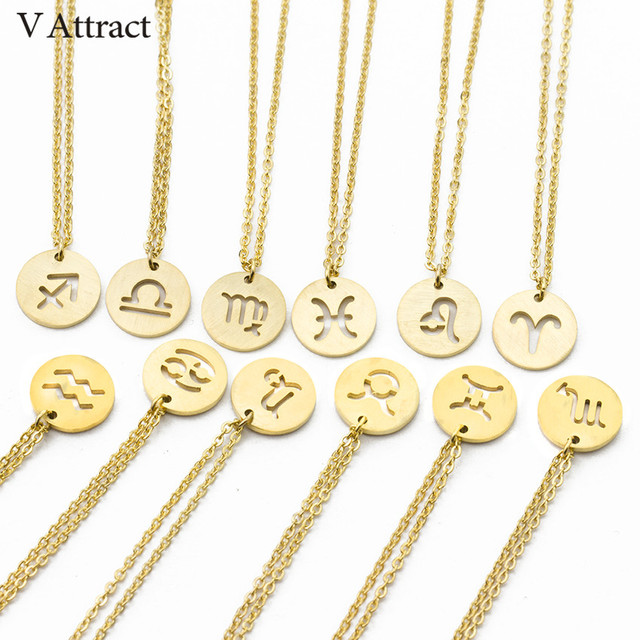 V Attract Horoscope Astrology Zodiac Statement Necklace Women Gothic Jewelry Gold 12 Constellations Necklace Round Charm Choker