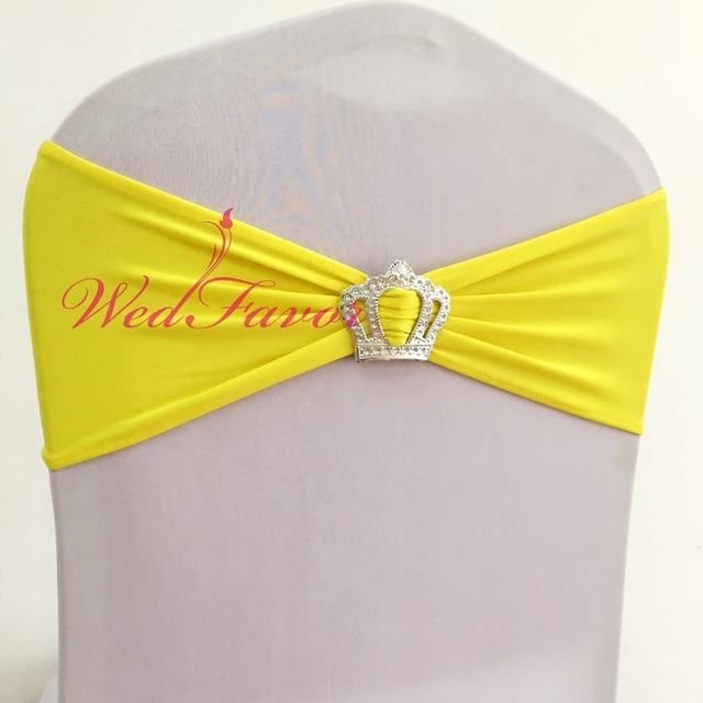 yellow spandex chair sashes portable folding massage 100pcs cheap elastic lycra sash stretch band with crown buckle for wedding event hotel decoration
