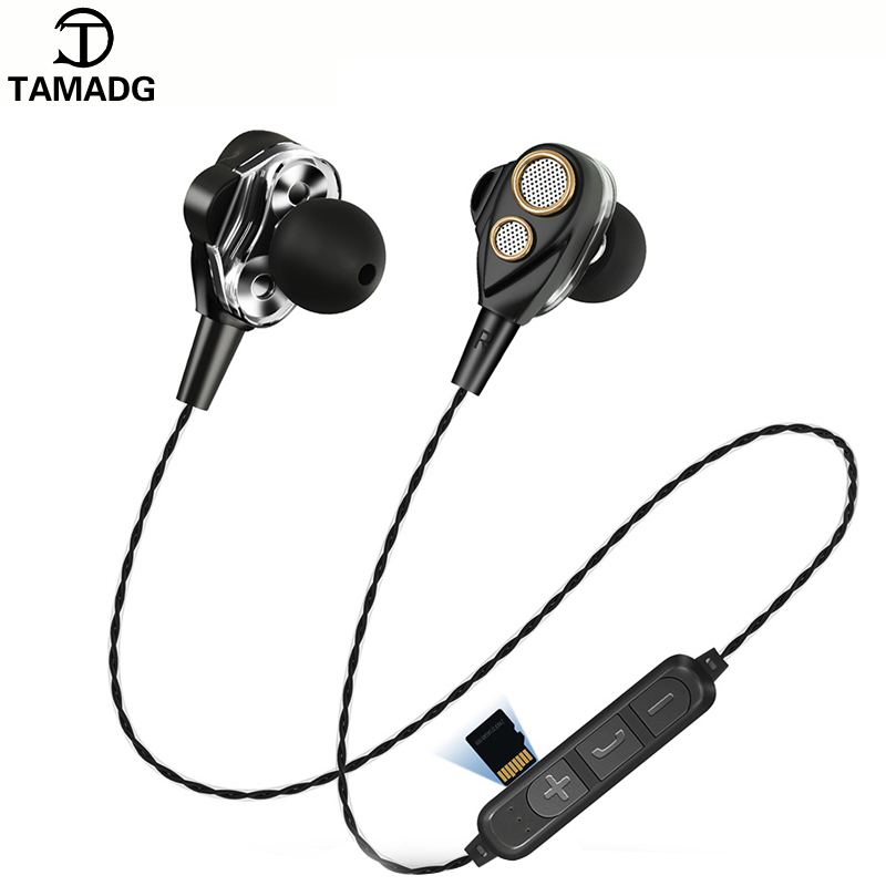 Double Drive Wireless Headphones Bluetooth 4.2 Stereo Bass headset Insert Memory Card Music Earphone With Mic for Phones XiaoMi