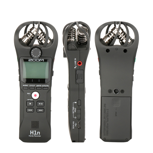 Portable black zoom h1n microphone handy digital recorder stereo recording handheld pen for interview dslr updated of zoom h1