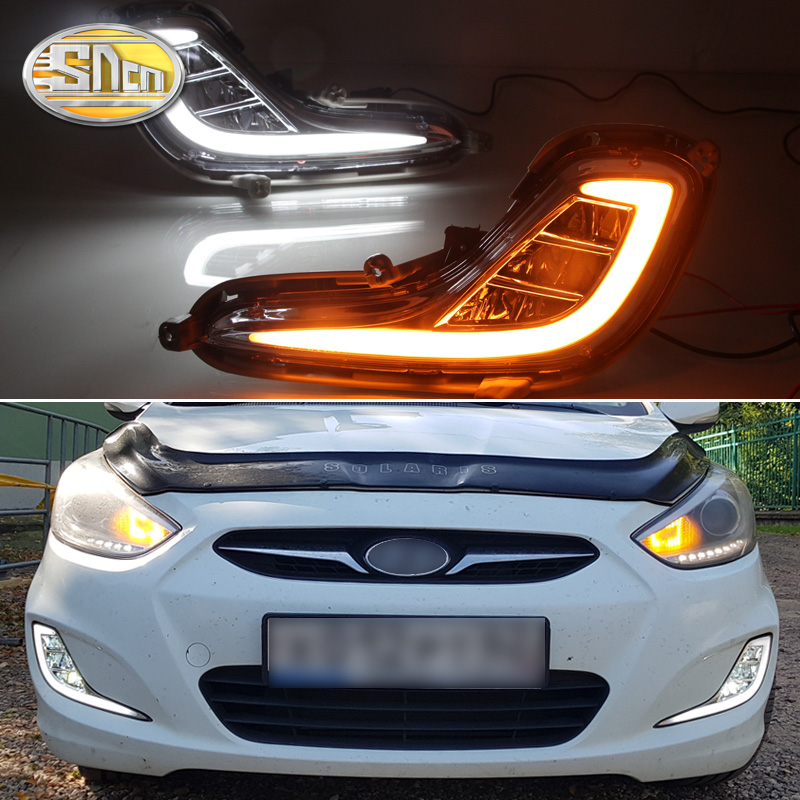 SNCN LED feux de jour pour Hyundai Accent I25 Solaris 2010 2011 2012 2013 jaune clignotant relais DRL feu de brouillard