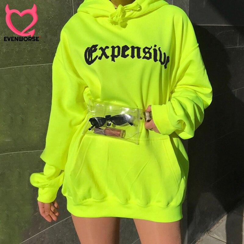 Evenworse 2019 letra impressa hoodies fluorescente verde neon sólidos manga comprida mulheres oversized solto moletom com capuz streetwear moletom