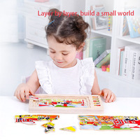 Wooden Multi layer 3D Puzzle Recognition Human Body Structure Puzzle Kids Educational Wooden Toys Boy Girl Teaching Aids
