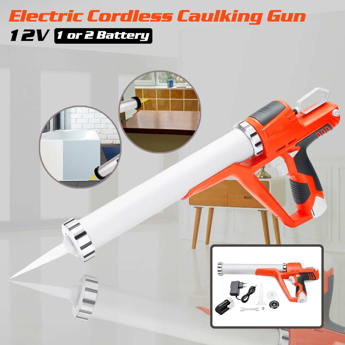 New Home DIY Electric Cordless Caulking Guns With 1.5AH 2 Li-Batteries 12V Max Handheld Glass Hard Rubber Sealant Guns Tools Kit