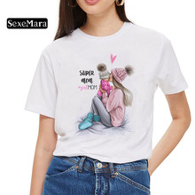 SexeMara Super Mom T shirt Women Mother's Love Print White T-shirt Harajuku Mama TShirt Vogue Tops tee shirt Femme Vogue Summer
