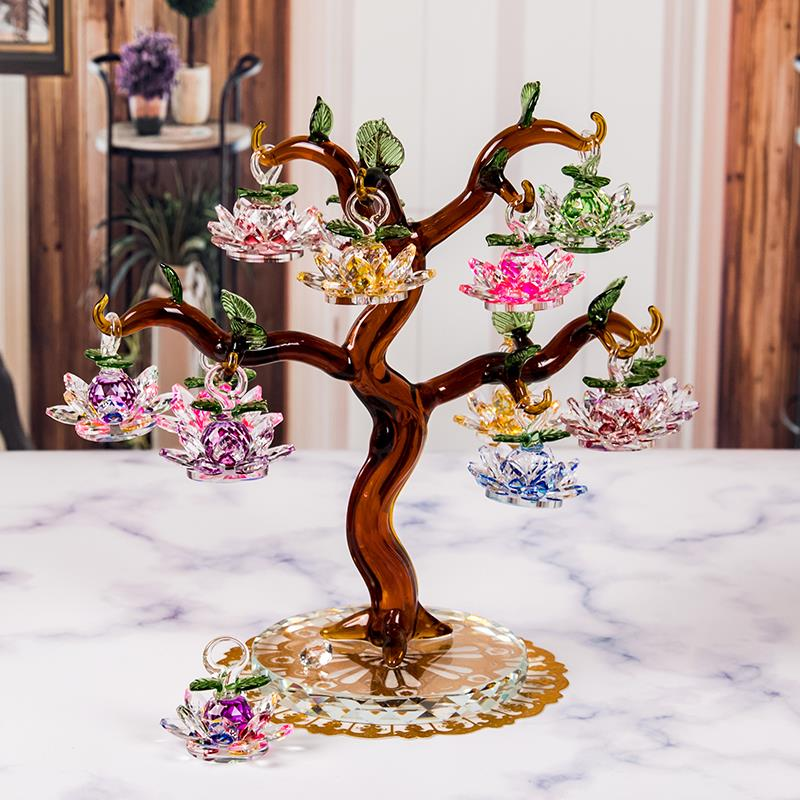 Glass Crystal Lotus Tree with 12pcs Lotus Fengshui Crafts Home Decor Figurines Christmas New Year Gifts