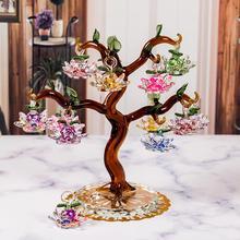 Vidro de cristal lótus árvore com 12 pçs lótus fengshui artesanato decoração para casa estatuetas natal ano novo presentes lembranças decoração ornamento