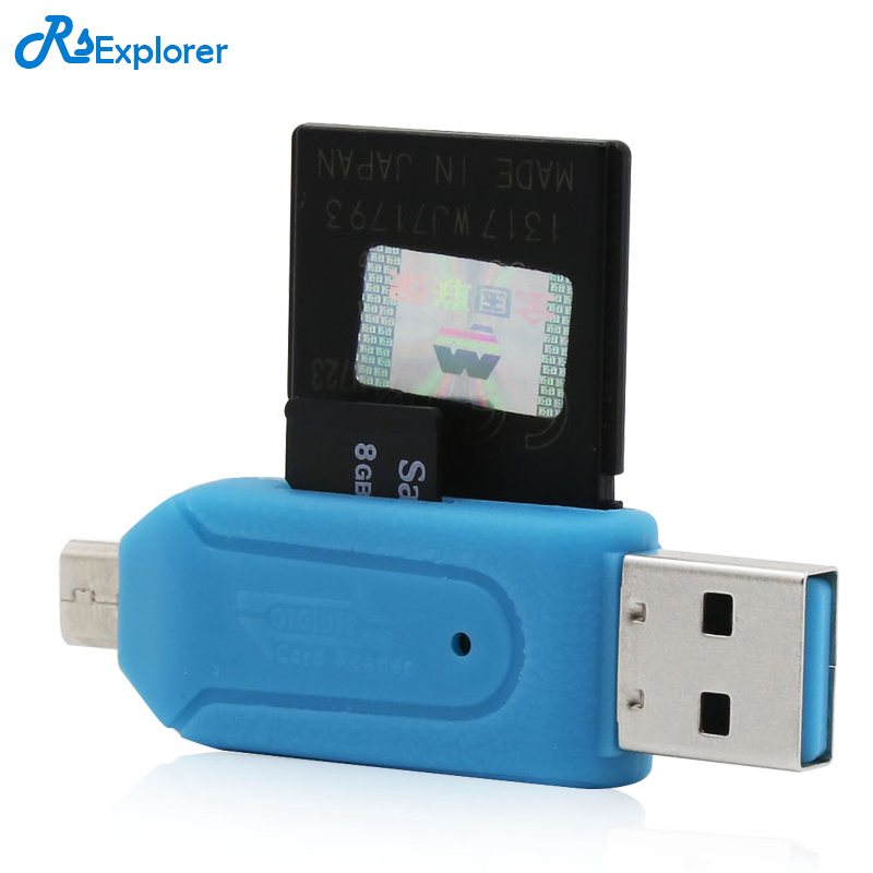 2 in 1 USB OTG Card Reader Micro USB OTG TF SD Card Reader Phone Extension