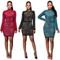 Womens Sexy Rhinestone Long Sleeve O-Neck Air Cotton Sheath Mini Dresses Clubwear Clothes