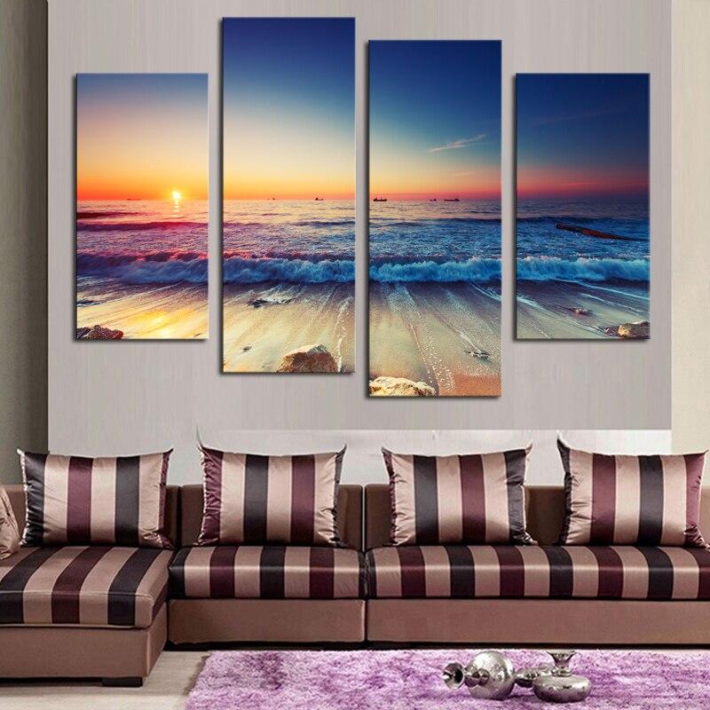 4 panels kein rahmen moderne printed sea wave landschaft wand bilder fur wohnzimmer moderne seascape wohnkultur leinwand maler in painting calligraphy - Bilder Furs Wohnzimmer Modern