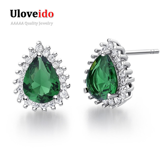 Uloveido Green Party Stud Earrings for Women Silver Color Earings 2017 Jewelry Bijoux Micro Pave Rhinestone 8 Colors 5% Off R815