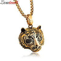 Louleur 2017 New Arrival Antique Gold Black Plated Stainless Steel Tiger Necklace For Men Hip Hop