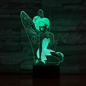 Usb 3d Led Night Light Decoration Girls Children Kids Baby Gifts 7 Color Changing Visual Table Lamp Princess Tinker Bell Figure(China)