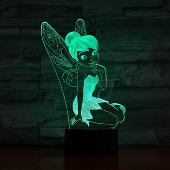 цена на Usb 3d Led Night Light Decoration Girls Children Kids Baby Gifts 7 Color Changing Visual Table Lamp Princess Tinker Bell Figure