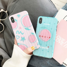 Minimum mobile phone case for iphone6 6s 7 8 PLus Luxury Trunk style Peach Fruit Pattern Cute iphoneX XS XR XsMax case IMD cover все цены