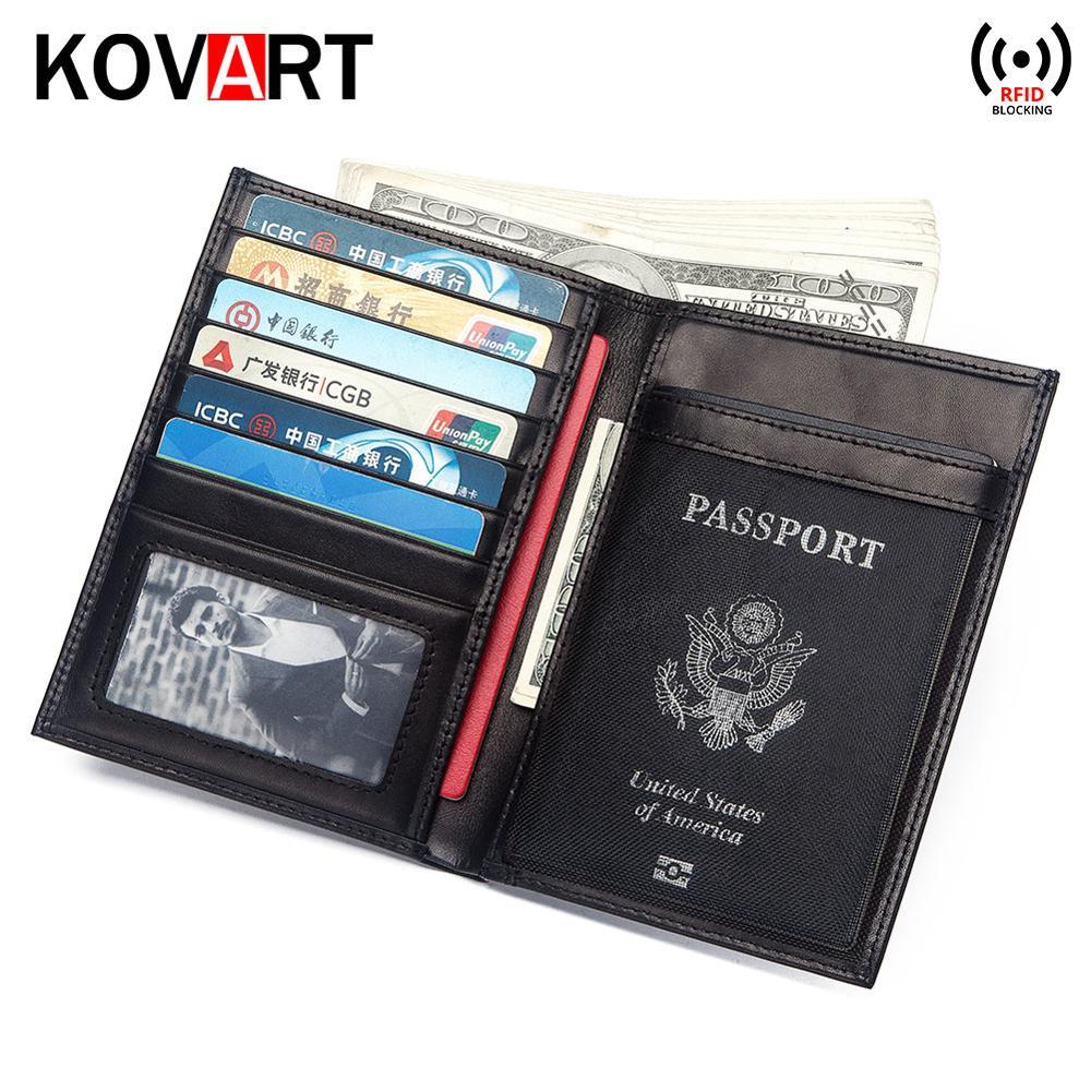 Multifunctional Rfid Blocking Genuine Leather Passport Cover Leather Wallet Fashion Card Holder Passport Holder Case Money Bag