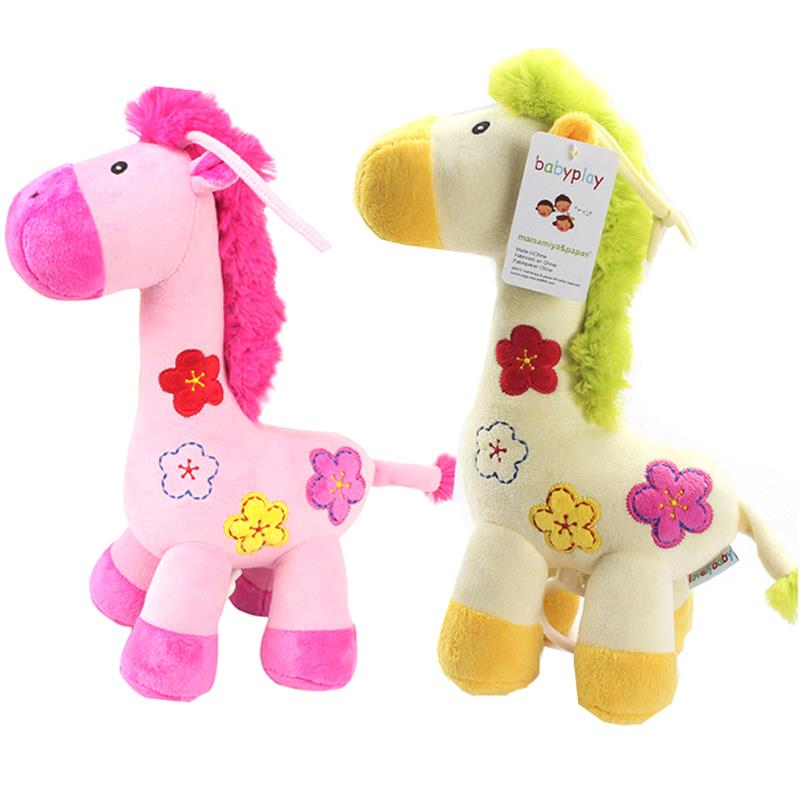 1Pcs Newborn Infant Baby Pull Line Bell Toys Cute Deer Bed Stroller Crib Hanging Rattles Yellow Pink Giraffe Music Hanging Bell