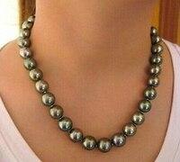 Дамы подарок женщин серебряная < потрясающие 11 12 мм таити павлин зеленая жемчужина Necklace18inch