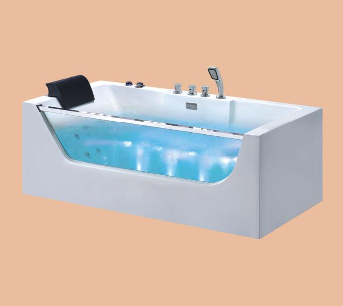 1700mm whirlpool Boubble Bathtub Acrylic Hydromassage Surfing SPA Colored LED Lamp Tub NS3026