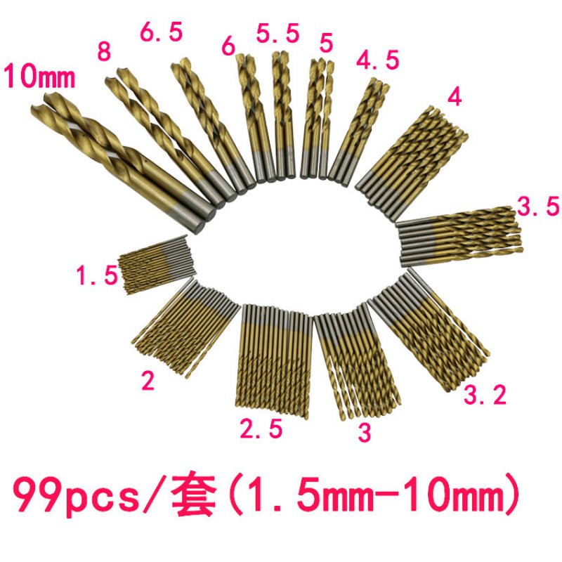 99 Pcs Titanizing Coated HSS High Speed Steel Drill Bit Set Tool 1.5mm - 10mm 13pcs lot hss high speed steel drill bit set 1 4 hex shank 1 5 6 5mm free shipping hss twist drill bits set for power tools