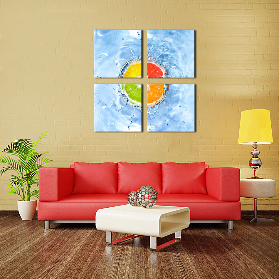 4 Picture Combination Wall Art The Orange fall into water of ...