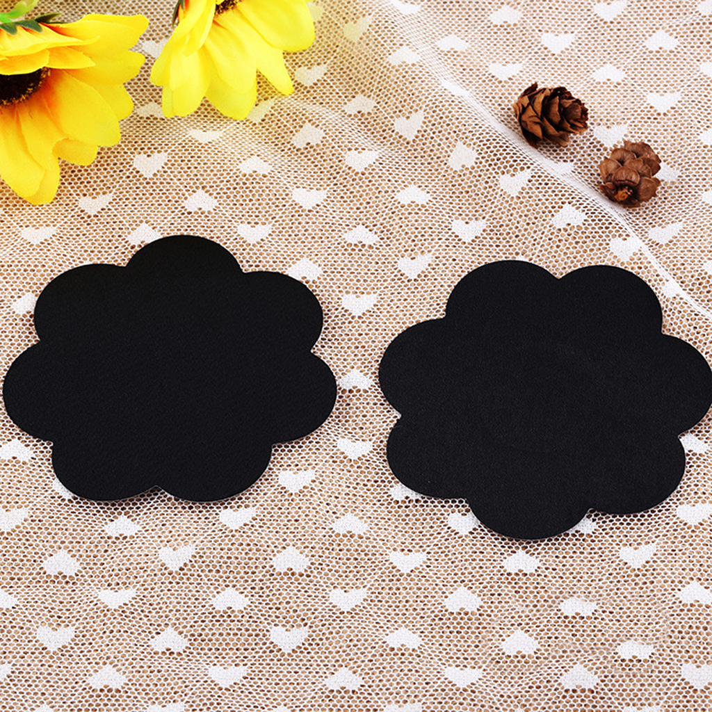 20 Flower Adhesive Breast Petal Pasties Nipple Cover Black Bra Pad Sticker For Wearing Transparent Blouses Bras